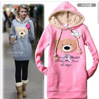 Fleece bears sweatshirts - Hoody long top Bear Designed Womens Sweatshirts Hoodies Colour Pink Blue Black ONE SIZE