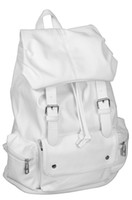 Wholesale 2015 Women PU Leather School Backpack Super Cool White Backpack Leisure School Bag Shoulder Bag