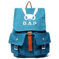 bap backpack - k pop bap B A P Washed canvas rucksack knapsack travelling bag schoolbag blue grey