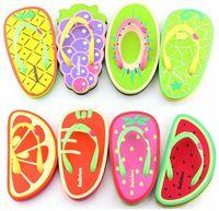 Cheap Summer Fruits and Vegetables Cartoon Flip Flops Female Flat Heel Flip Slippers Fruit Wedges Sandals
