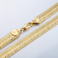 jewelry mirror - 10mm Mens Boys Chain MIRROR Snake HERRINGBONE Necklace K Gold Filled Necklace Chain KGF High Quality Jewelry Gift GN148