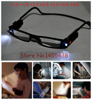Wholesale PC Unisex Adjustable LED Magnetic Reading Glasses Front Connect Magnet LED Reader Folded Glasses With Lights D