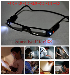 Wholesale-1PC Unisex Adjustable LED Magnetic Reading Glasses Front Connect Magnet LED Reader Folded Glasses With Lights +1.0 +4.0D