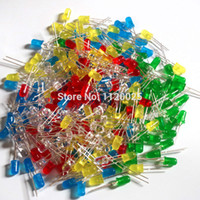 Wholesale 5 Colors x100pcs LED Components New mm Round Red Green Blue Yellow White Color LED Light Diode Kit