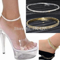Cheap 2pc Clear Crystal Tennis Silver Gold Stretch Anklet Foot Chain Leg Bracelet Rhinestone Ankle Anklet Bracelet pulseras tobilleras