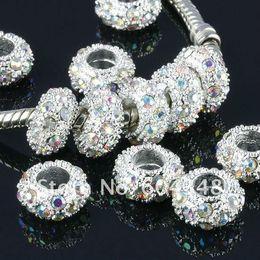 Wholesale-11MM Rhinestone Crystal AB Beads, Rondelle Spacers, Metal Silver Plated Crystal Big Hole European Bead Fit Bracelets-100PCS