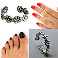 Wholesale Vintage Adjustable Silver Plated Anklets Women Open Ring Toe Ring Knuckle Band Mid Finger Tip Rings for Girls Lady