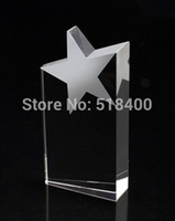 crystal trophy award - High quality hot selling crystal star tower trophy five star crystal trophy crystal star award with free engraving