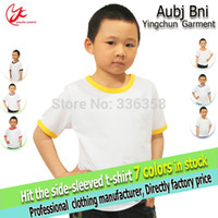 plain t-shirts - kids plain white cotton t shirt children boy girl crew neck short sleeve hit colored edge tee shirt blank t shirts