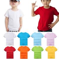 plain t shirts - KIDS Summer Tops Fashion New Cute Childrens Boys Girls Plain T Shirt Cotton Shirts Size S M L XL XXL XXXL Color