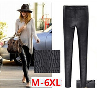 Wholesale Snakeskin Leather Leggings - 161 M-6XL plus size thin summer leather Snakeskin leggings High elastic Pencil pants Capris women Casual long trouser