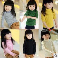 basic rounding - Autumn Winter Girls thicken Undershirt Kids Turtleneck Long Sleeve T Shirt Girls Solid Candy Color Basic Shirt