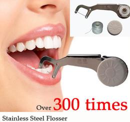 Flosser Dental aço inoxidável Nova Eco Oral Higiene Dental Floss DENTES Palitos 300 vezes reutilizável limpa entre dental