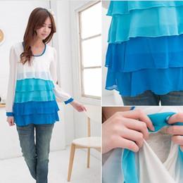 Hot Wholesale!!! Free Shipping Autumn & Winter Fashion Design Long Sleeve Breast Feeding Tops Maternity Shirt Maternity T-shirt