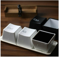 bamboo creativity - New creativity plastic gift cup keyboard words CTRL DEL ALT design set coffee and tea cups with plate white black color