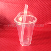 bamboo arch - 500ml disposable plastic cup transparent tea cup fruit juice beverage cup sand ice cup arch cover straw set