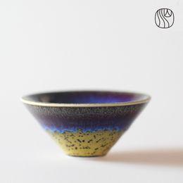 Wholesale High Quality Handcrafted Yellow Cerulean Chihai Kongfu ml Ceramic Tea Cup Porcelain Cap Shape China Matcha Drinkware Tools