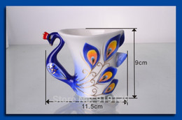 Wholesale Retail Sale Price Tea Coffe Cup Colorful Peacock Art Bottle Pottery ml Drinking Set