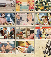 advertisement cards - New Arrival Set Size cm Collection Post Cards Vintage Style Old Advertisement Theme Postcards Gift Greeting Cards