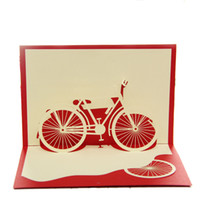 bicycle greeting cards - Bicycle Red Handmade D Pop UP Greeting Cards set of