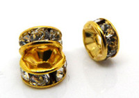 Wholesale Gold Plated Rhinestone Spacer Beads mmx2 mm w00048x10