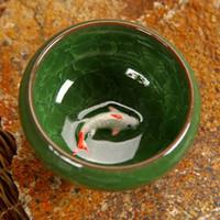 bamboo textures - Longquan Celadon Ceramic tea cup Dehua porcelain ml gold fish cup with texture Kungfu teacup