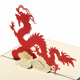 Wholesale Animal Theme Dragon Handmade D Pop UP Greeting Cards For Birthday Greeting amp Gift Greeting Cards set of