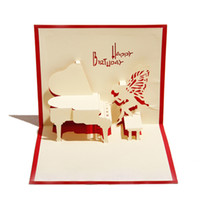 Wholesale Red amp Blue Handmade D Pop UP Birthday Greeting Cards with Piano Angel set of