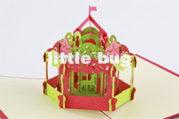 Wholesale New D Carousel Pop up cards Custom Greeting cards Merry go round Paper Crafts