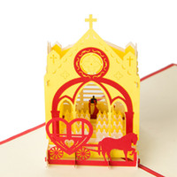 amazing greeting cards - Amazing Wedding Church with Love Carriage Handmade D Pop UP Greeting Cards set of