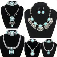 Wholesale Silver plated Blue Turquoise Earrings Necklace Jewelry Sets women Imitation Gemstone Jewelry set Retail nke k53
