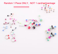 belly button cards - 1PC ONLY NOT CARD New Style Ball Belly Ring Belly Button Navel Ring Body Piercing Eyebrow Lip Tongue Bar Ring Mix Colors ZO54