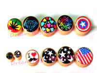 bamboo tattoos - New Ear Plugs Bamboo Wood Flesh Tunnel mm Mixed Logos Different Image Ear Expander Gauge Stretchers Punk Rock Tattoo