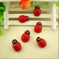 adhesive sponge - 1pack About Red Mini Wooden Ladybug Sponge Self adhesive Stickers Cute Baby Fridge Magnets for Scrapbooking AY870039