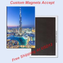 Wholesale Rectangle Rigid Magnets The united Arab emirates UAE Dubai Ha Farley tower Metal Fridge Magnet Travel Souvenirs
