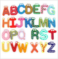 abc kids alphabet - 26 pieces Unisex Kids Baby Educational Toy ABC Wood Letters Alphabet Learning Fridge Magnet