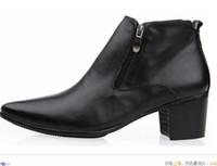 Botas altas de tacón hombres señalaron dedos de los pies Baratos-2015 hombres 6.5cm del talón cubano Winklepicker señalaron dedo del pie botas de tacón alto del zurriago de las botas de cuero tobillos zapatos del elevador