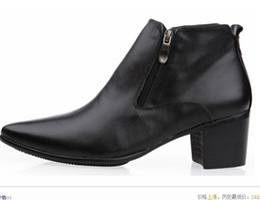2017 botas altas de tacón hombres señalaron dedos de los pies 2015 hombres 6.5cm del talón cubano Winklepicker señalaron dedo del pie botas de tacón alto del zurriago de las botas de cuero tobillos zapatos del elevador botas altas de tacón hombres señalaron dedos de los pies baratos