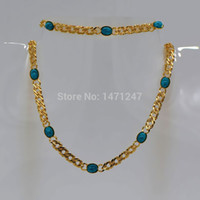 autumn earrings - Autumn winter fashion turquoise necklace suits for men and women to participate in the dance of k gold plated jewelry NB60055
