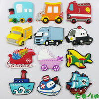 animal car magnets - High quality Home decorations funny rubber fridge magnet baby toy transport tool car plane ship