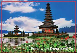 Wholesale Rectangle Rigid Magnets mm Pura Ulun Danu Bratan Photo Fridge Magnets Bali Tourist Memorabilia Gift