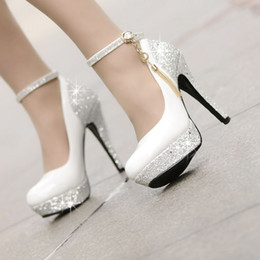Wholesale 2015 Sapatos Femininos Salto Alto New Fashion Golden Chain Bridal white Wedding Shoes For Women Platform cm Ultra High Heels