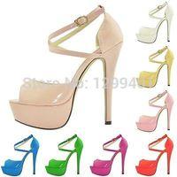 beige sandals high heels - GRILS PARTY BRIDAL WEDDING PATENT HIGH HEELS OPEN TOE SHOES ANKLE STRAP SANDALS