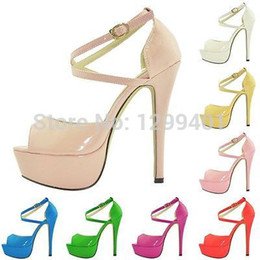Wholesale GRILS PARTY BRIDAL WEDDING PATENT HIGH HEELS OPEN TOE SHOES ANKLE STRAP SANDALS