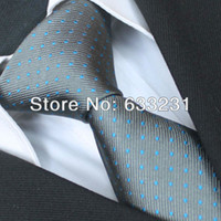 Cheap YIBEI Ties 100% Pure Silk Necktie Gray With Turquoise Spots Formal Mens Neck tie gravata for men dress shirts Wedding