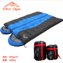 Camping bags envelope hooded 1.8kg winter thick warm sleeping bags lovers' stitching sleeping bag Free shipping