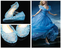 Wholesale Princess Cinderella Cartoon Sparkling gel uppers Crystal Shoes Girls Fancy Dress up Costume blue Jelly Shoes Sandals Cosplay