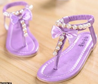 Wholesale New summer Pu leather children korean Pearl bowknot princess shoes girls sandals breathable kids shoes