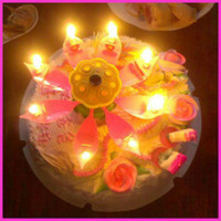 Wholesale Beautiful Musical Blossom Lotus Flower Candle Birthday Party Music Candle
