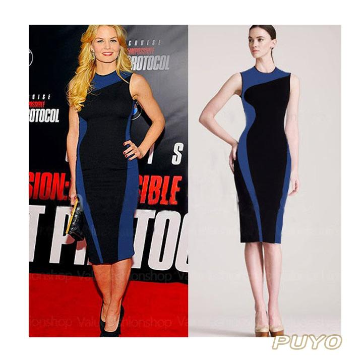 Wholesale-2016 Fashion Women Elegant Vintage Geometry sleeveless bandage dress, O-Neck Bodycon Party Evening Slim pencil Dress 19768